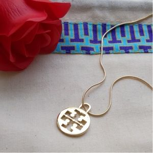 Tory Burch Logo Charm Gold Plated Necklace w Pouch